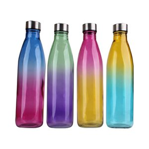 Glass Bottle 750ml Chrome Lid Rainbow