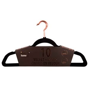 10 / PK VELVET HANGERS BLACK ROSE GOLD