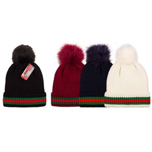LADIES FASHION MULTI STRIPE POM POM W / FUR LINING