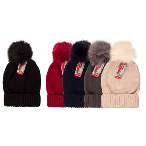 LADIES FASHION ASST. SOLID COLOR POM POM HAT W / FUR LINING