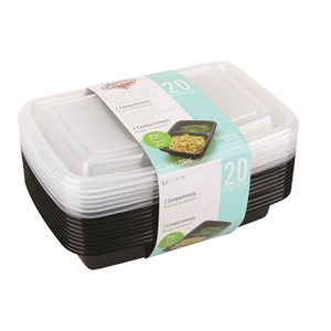 MEAL PREP CONTAINERS 2 COMPARTMENTS 20 PCS