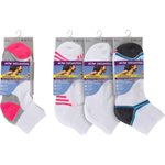 LADIES 3PR QUARTER 1 / 2 CUSHION SPORT SOCKS WHITE