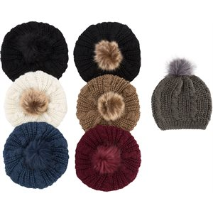 LADIES FUR POM POM HAT