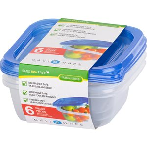 GALIWARE 6PC 350ML SQUARE FOOD CONTAINER