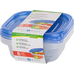 GALIWARE 6PC 500ML SQUARE FOOD CONTAINER
