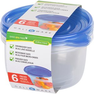 GALIWARE 6PC 750ML ROUND FOOD CONTAINER