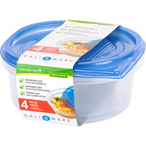 GALIWARE 4PC 1450ML ROUND FOOD CONTAINER