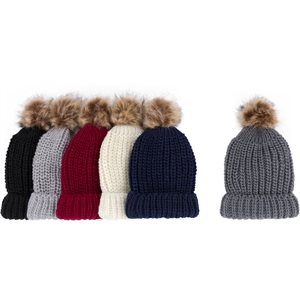 LADIES FASHION WINTER WITH POM POM & CUFF HAT