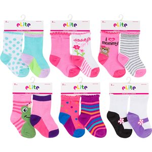 ELITE 2PR INFANT GIRLS SOCKS
