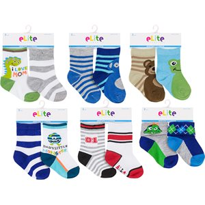 ELITE 2PR INFANT BOYS SOCKS
